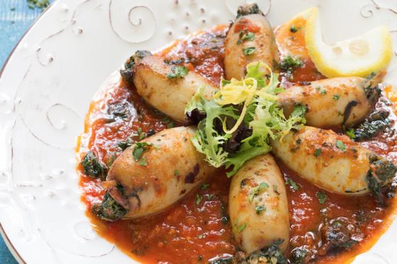 Spinach-Stuffed Calamari from Mediterranean Paleo Cooking