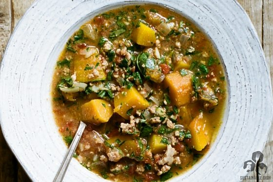 Butternut Squash Stew with Pork and Spinach
