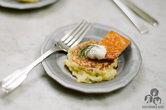 Kohlrabi Cakes with Bacon and Dill