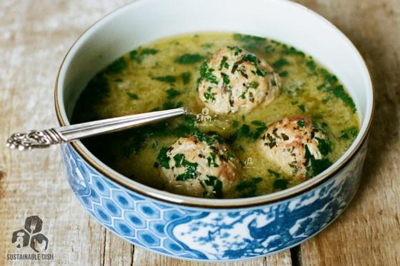 Spring Egg Drop Soup with Lemon-Ginger Meatballs
