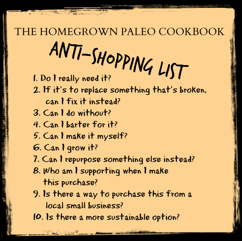 anti shopping list