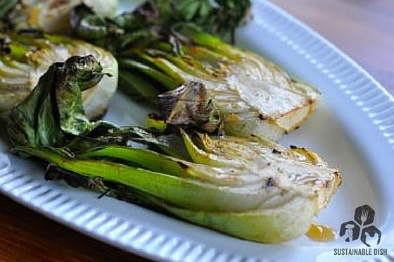 Grilled Bok Choy with Sesame Ginger Sauce