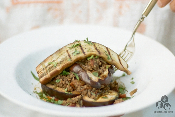 Grilled Eggplant Stacked with Indian-Spiced Beef