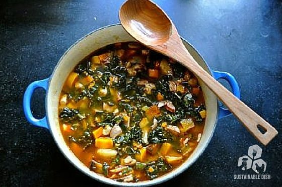 Fall Harvest Soup with Chicken, Sausage and Kale