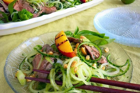 "Vietnamese ""Noodle"" Salad with Grilled Steak, Peaches and Herbs"