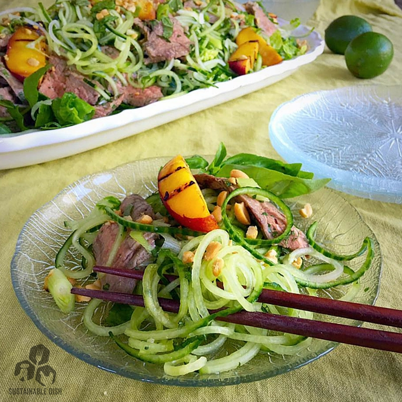 "Vietnamese ""Noodle"" Salad with Grilled Steak, Peaches and Herbs - Sustainable Dish"