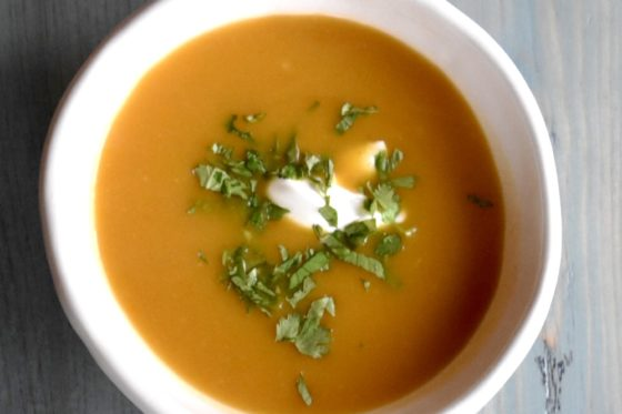 Butternut Soup with Cardamom and Vanilla Yogurt