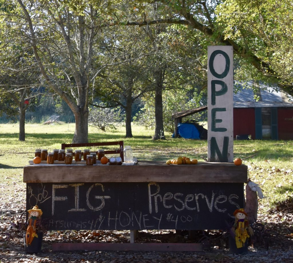 Honor system farm stand in Ville Platte, Louisiana