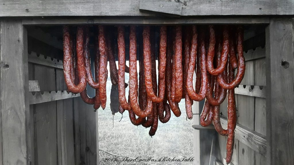 Sausages being smoked. PC: Tiffany Casey