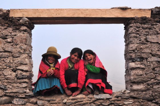 Three girls of Q'eros, an area of Peru still practicing Ayni, the Andean word for reciprocity. PC: Hannah Rae